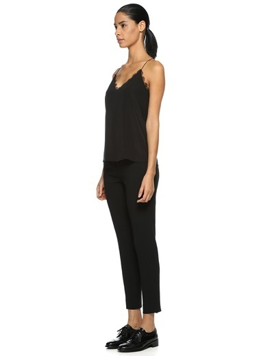 Beymen Collection İnce Askılı Dantel Detaylı Bluz Siyah